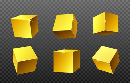 Golden geometric square design elements realistic vector illustration isolated on transparent background. Set templates of rendered gold shiny glossy cubes.