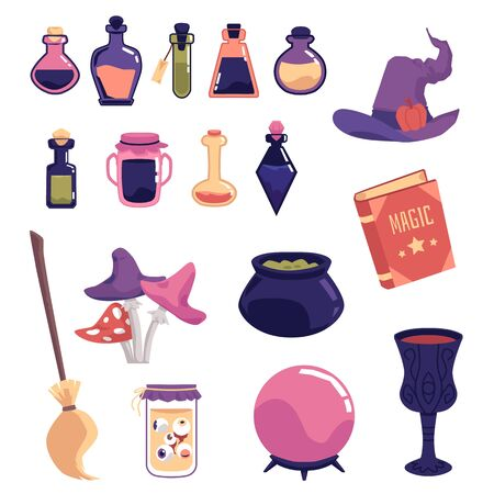Witch object set - spooky magic equipment vector illustration. Cartoon potion bottles, hat, broom and other fantasy witchcraft symbols isolated on white background. Ilustração