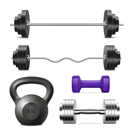 Realistic gym weights set - weight lifting equipment isolated on white background. Heavy black barbells, light dumbbell and cast iron kettlebell, vector illustration. Ilustrace