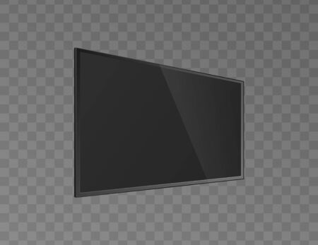 Black shining and blank lcd tv monitor slightly turned, realistic vector illustration isolated on transparent background. Television or computer modern display mockup.