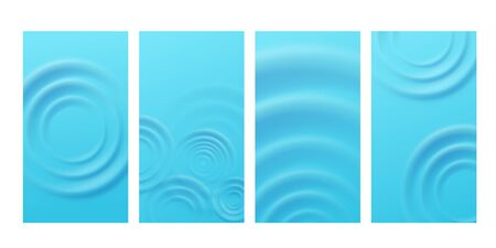Set of banners or backgrounds for social media publication and business cards with circle concentric ripples on blue water surface, realistic vector illustration.