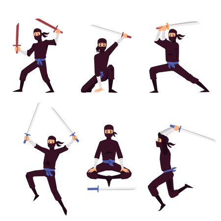 Ninja assassin cartoon characters set fighting with Japanese weapon sword, flat vector illustration isolated on white background. Kamikaze fighter personage in move. Çizim