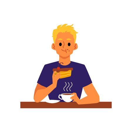 Blonde man cartoon character drinking tea or coffee with dessert, flat vector illustration isolated on white background. Food and eating, cafe meal and lunch time.