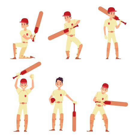 Set of man stands in different action poses holding cricket bat cartoon style, vector illustration isolated on white background. Male cricket player or batsman in sport uniform