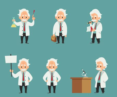 Set of scientist or professor at laboratory work getting idea and testing new equipment or device cartoon characters flat vector illustration isolated on background. Vecteurs