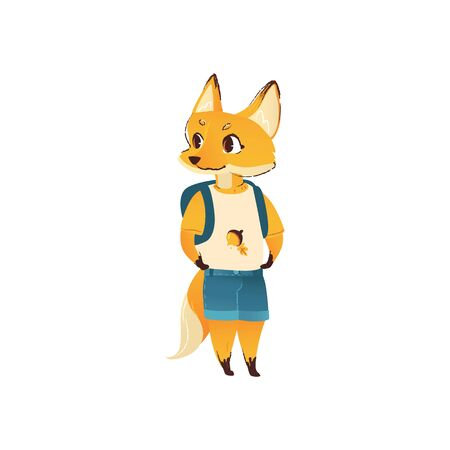 Cute cartoon fox in human clothes and back-to-school backpack standing and smiling isolated on white background, colorful hand drawn vector illustration of humanised wild animal Illustration