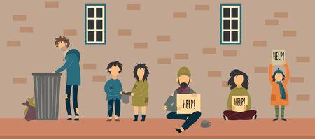 Homeless people - flat cartoon banner of poor men, woman and children on sidewalk holding Help sign, begging for money or rummaging trash. Vector illustration.