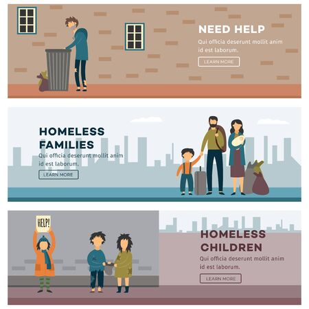 Homeless people banner set - poor families and children in need of help looking at trash bin or begging for money. New refugee family and others - flat cartoon vector illustration Stock Illustratie