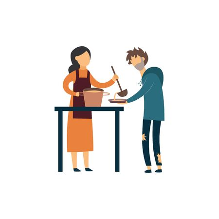 Volunteer woman giving food to homeless man in soup kitchen. Cartoon people in poor meal center - isolated flat vector illustration on white background.