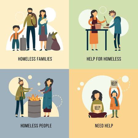 Help for homeless banners set with hungry beggars - men, women and children cartoon characters, flat vector illustration. Charity and donation for homeless people concept. Çizim