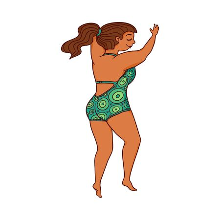 Cartoon woman in green swimsuit jumping somewhere - isolated flat female character smiling and flying mid jump. Vector illustration on white background.