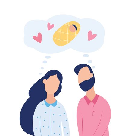 Couple dreaming about child - man, woman and baby characters, flat vector illustration isolated on white background. Family planning and fertility treatment concept.