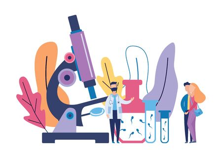 Sperm research banner - cartoon doctor and young couple standing near giant microscope and glass beaker bottles with sperm - fertility and infertility anaysis vector illustration.