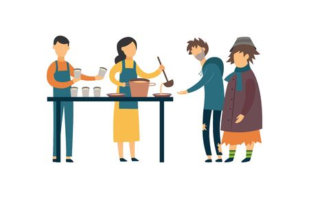 Volunteers feed the poor, beggar and homeless people with food, charity and help. Isolated flat vector illustration. Illustration