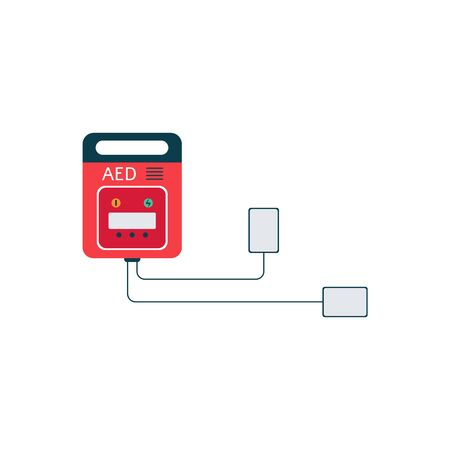 Equipment of aed, medical automated external defibrillator for emergency and electrical shock. Isolated flat vector illustration of aed.