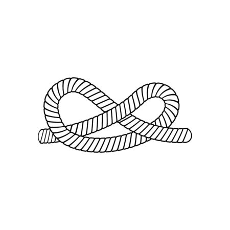 Eternity knot - cartoon rope tying into infinity sign, simple icon element of nautical string in infinite shape, isolated black and white line art element vector illustration