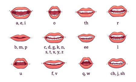 A set of human mouths with lips, teeth and smiles pronouncing sounds. Different expressions of mouths, lips talk for animation and pronunciation. Isolated vector cartoon illustration.