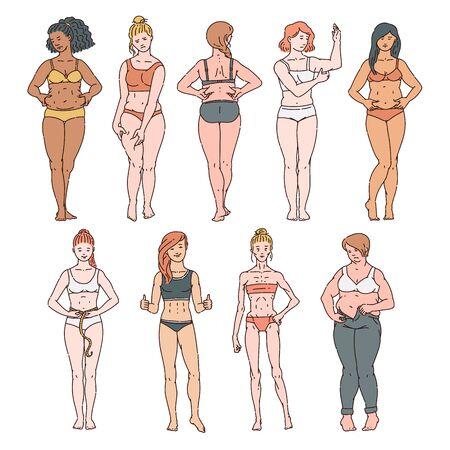 Ensemble de femmes de différents poids et races en sous-vêtements, soutiens-gorge et culottes. Corps féminin gras et mince, surpoids et maigreur des femmes caucasiennes, asiatiques et afro-américaines. Illustration de dessin animé de vecteur.