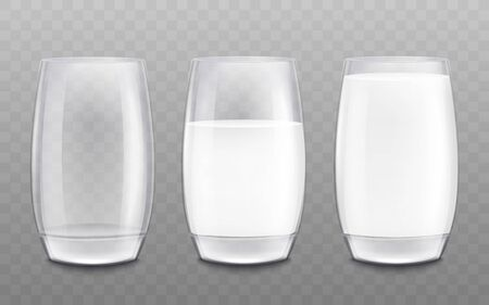 Set of three cups, goblets and half full glasses for milk. Cup and glass for drinks, liquids and milk, realistic vector illustration on a transparent background.