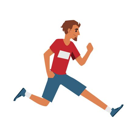 Male runner athlete in sport clothes running forward - smiling cartoon man jogging from side view. Race competition participant isolated on white background, flat vector illustration.