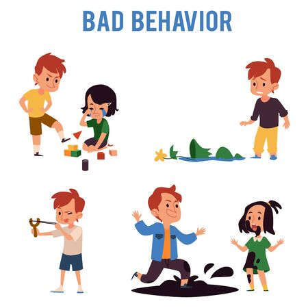 Cartoon boy with bad behavior kicking toys, aiming slingshot, jumping in dirt puddle, making sister cry, breaking a vase. Naughty child bully - isolated flat vector illustration set