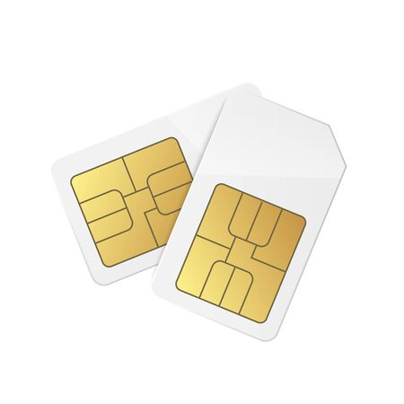 Template of wireless phone sim cards icon or symbols, realistic vector illustration isolated on white background. Mockup of mobile phone chip for package design.