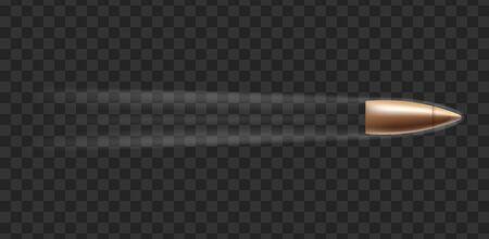 Mockup der Kugelpatrone, die mit Rauchspur fliegt, realistische Vektorillustration einzeln auf dunklem transparentem Hintergrund. Gestaltungselement für Militär- und Armeemunition. Vektorgrafik