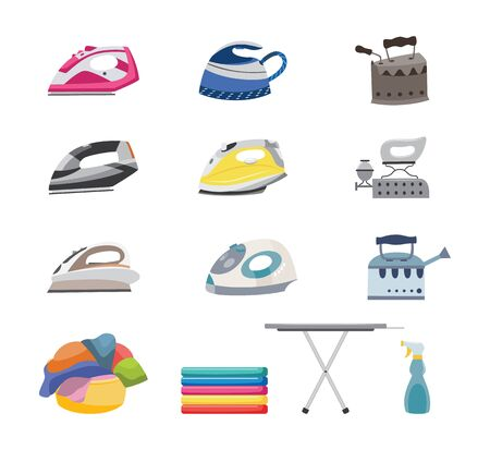 Modern and antique clothes iron set and ironing board with folded and messy laundry in basket. Electric and charcoal irons - isolated vector illustration. Vectores