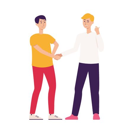 Two friends men cartoon characters, give recommendation or advice to use company services or share user experience, flat vector illustration isolated on white background.