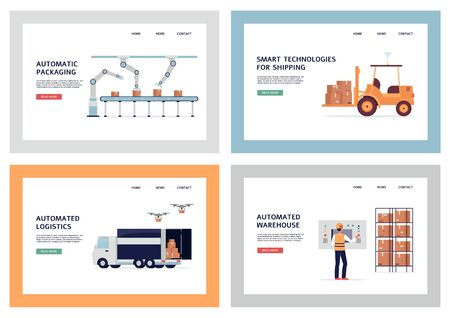 Automatic logistics banner set - smart technology in packaging and shipping. Drone delivery, robotic arm and automated warehouse website - flat vector illustration.