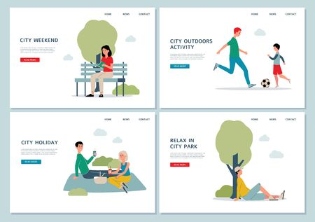 Cartoon people in outdoor city park at weekend - website landing page banner set with summer leisure activities. Vector illustration of homepage templates. Illustration