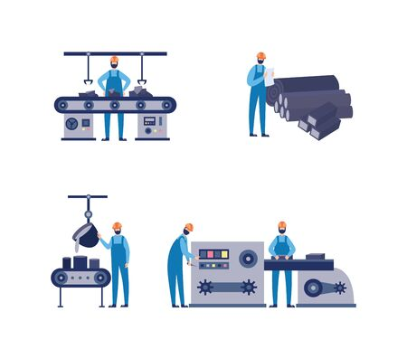 Set of equipment for foundry factory with workers, flat vector illustration isolated on white background. Metallurgy industrial facilities and machine tools.