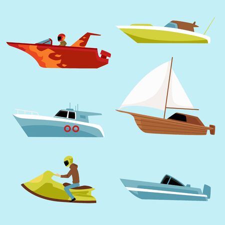 Speed motorboat icons set, flat vector illustration isolated on blue background. Nautical collection of summer vacation and transportation on motorized water vessel.