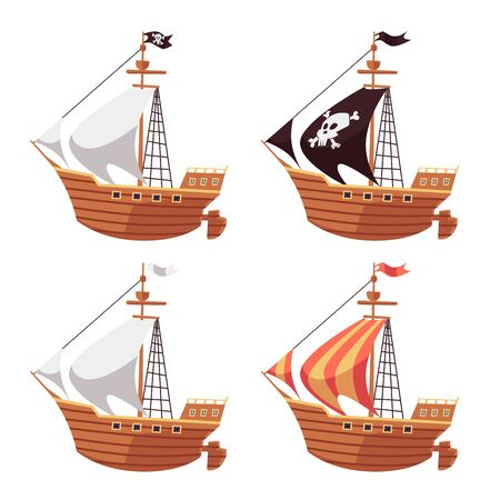 Pirate sea ship and regular sailboat set with black, white and striped sails. Cartoon boat collection isolated on white background - flat vector illustration.