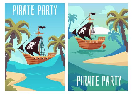 Pirate party banners set with ship at background of sea tropical island, flat cartoon vector illustration. Invitation template for Children birthday holiday celebration.