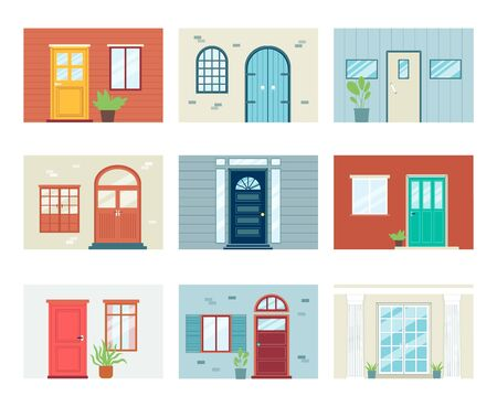 Building front entrance elements set with doors and windows, flat vector illustration isolated on white background. Part of wall with doorways architectural symbols.