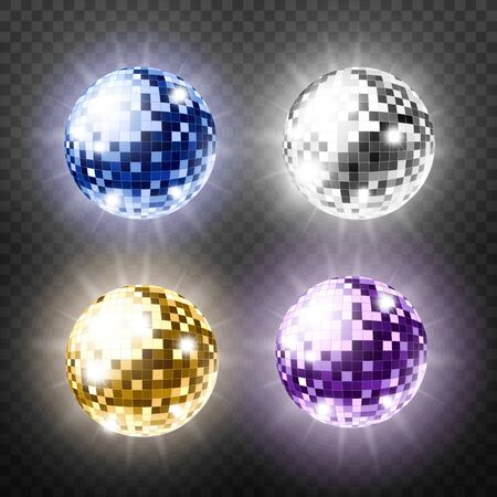 Set of mirror disco balls in various color, realistic realistic vector illustration isolated on transparent background. Music party vintage decoration elements.