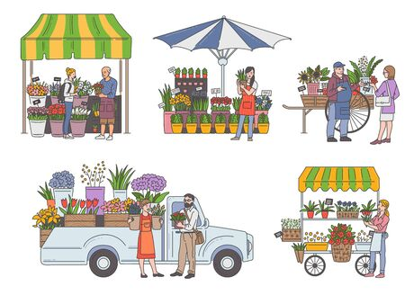 Flower market cart shop set with cartoon people selling and buying floral bouquets isolated in white background. Colorful outdoor florist shops - flat vector illustration. Stock Illustratie