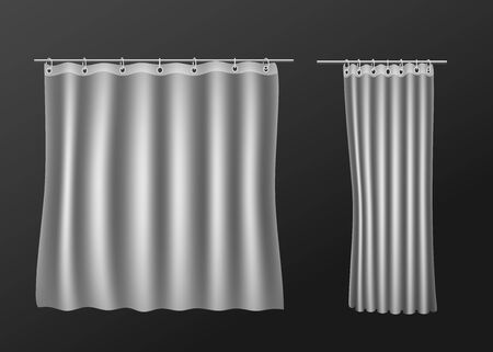 Blank white shower curtain template or mockup, realistic vector illustration isolated on dark background. Bathroom waterproof screen hanging on steel hooks and rod.