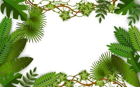 Marco de selva tropical con hojas verdes de plantas exóticas, diseño de borde de rectángulo en blanco de verano con exuberante follaje y variedad de hojas de plantas aisladas - ilustración vectorial aislada