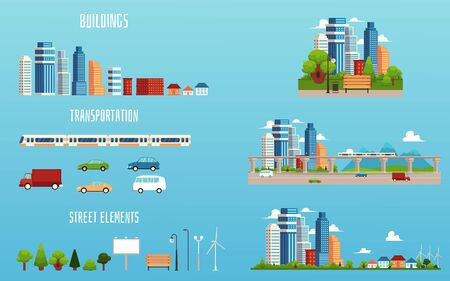City elements - isolated cartoon set of buildings, transportation and cityscape views. Modern urban architecture and nature pieces - flat vector illustration Illustration