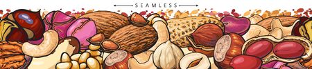 Seamless border or pattern with nuts such as peanuts and cashew, almond and hazelnut hand drawn vector illustration isolated on white background. Endless seeds ornate. 일러스트