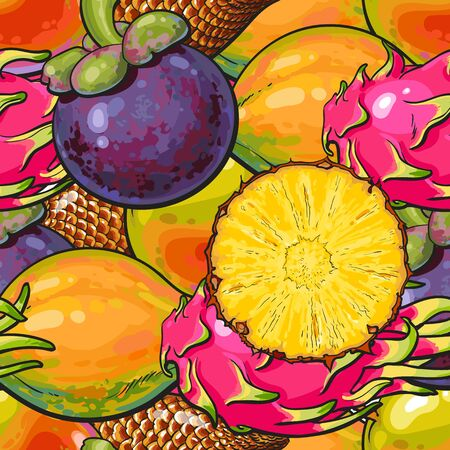 Exotic fruits seamless pattern or repeatable background sketch colorful vector illustration. Hawaiian and tropical nature summer texture for textile prints and food package.