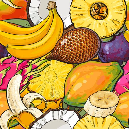 Tropical fruit seamless pattern hand drawn colorful exotic food background with banana, coconut, papaya, dragon fruit and salak in cartoon drawing style - vector illustration Illustration