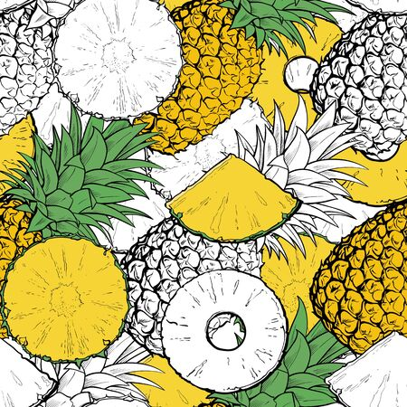 Tropical pineapple seamless pattern with sliced and whole fruit in color and black and white. Healthy green and yellow summer food background - vector illustration