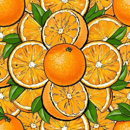 Seamless pattern of orange fruit with leaves in hand drawn cartoon style. Colorful background of sliced, whole and half of ripe citrus - healthy nature food vector illustration. Illustration