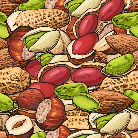 Seamless pattern or background with different nuts in nutsheels sketch colorful vector illustration. Food and snack endless texture with mixed nuts for food package.