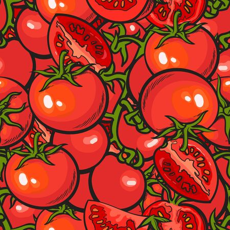 Tomato seamless repeatable pattern vector illustration in red and green. Modern background vegetable surface design for fabric prints, scrapbooking and wallpaper.