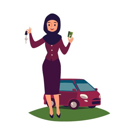 Arab woman in hijab near the new car shows the keys to the car and drivers license the flat vector illustration isolated on white background. Muslim women diversity concept.