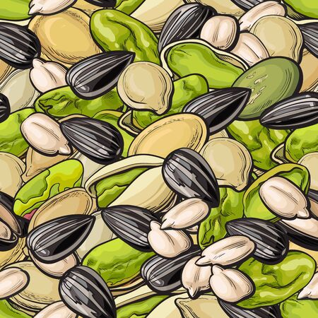 Pistachios and sunflower seeds seamless pattern in sketch style vector illustration. Nuts repeatable background or texture for organic food and snack package.